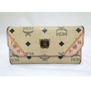 MCM Leather Pink & Beige Studded Logo Motif Wallet